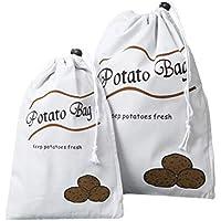 BESTONZON 2 unids Bolsa de Almacenamiento Portátil de Patata Vegetal Tela Con Cordón Cremallera Bolsa de Almacenamiento Bolsa de Cocina Organizador