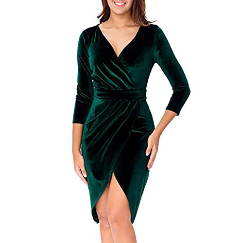 Damen Kleider Elegant Partykleid V-Ausschnitt Minikleid Clubwear Frauen Basic Kleid Etuikleid Freizeitkleid Pencil Kleid Skaterkleid Solide Dress