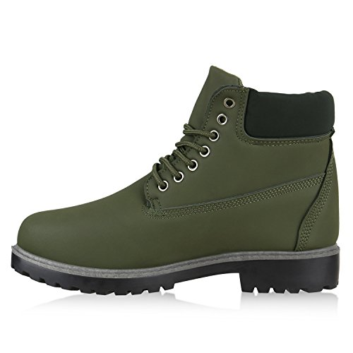 Herren Outdoor Boots Bequeme Schnürstiefel Schuhe Dunkelgrün