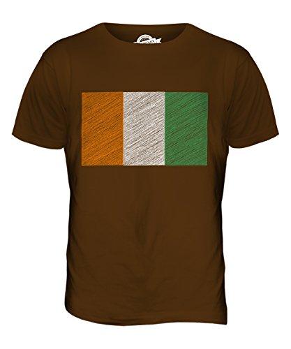 CandyMix Elfenbeinküste Kritzelte Flagge Herren T Shirt Braun