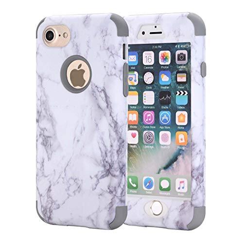 iPhone 6Plus Case, aoker Marmor Design Slim Dual Layer Kratzfest stoßfest Hard Back Cover Soft Silikon Schutzhülle passgenau für iPhone 6Plus 6S Plus 14cm, grau - Otterbox Sechs Iphone Gelb