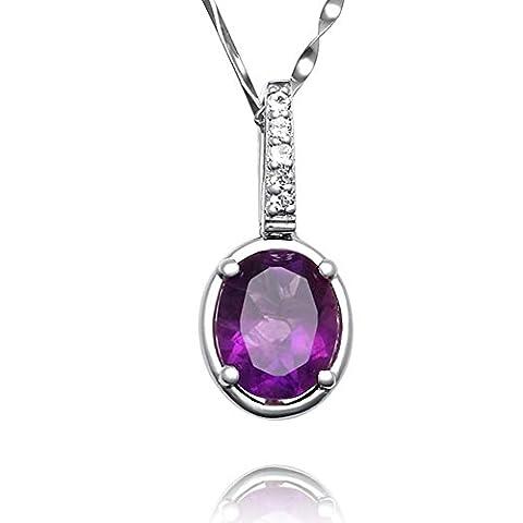 Kostbaren dicken lila Amethyst natürlichen Kristall-Anhänger/ Dame Halskette