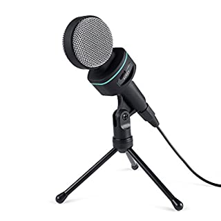 AUKEY MI-W1 Condenser Microphone with Tripod Holder and Mic Audio Volume Control for PC, Laptops, Smartphone, Audiovert Device