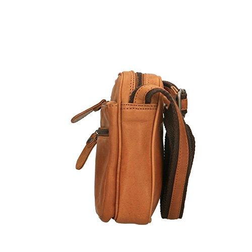 Chicca Borse Luxury-Beutel Mann Schultertasche aus echtem Leder - 15x19x6 cm Bräunen