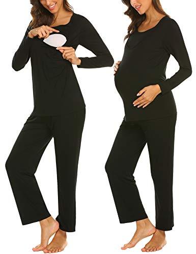 MAXMODADamen Lange Stillpyjama Stillnachthemd Schlafanzug für Schwangere Umstandsmode