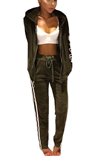 CuteRose Women's Warm Fleece Long Pants Gold Velvet Stripes Printed Velvet Zipper Sweatshirt pants Set Army Green S