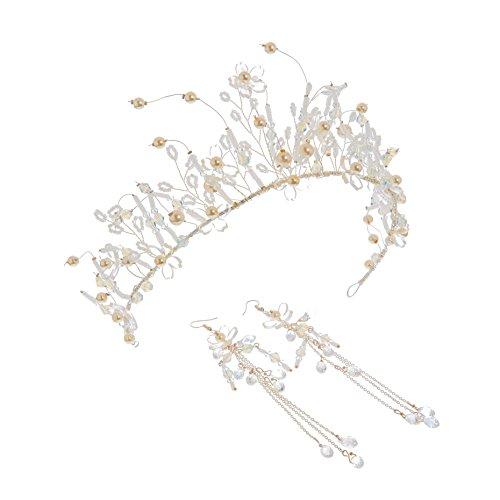XPY&DGX Bridal Hochzeit Ballsaal Haarnadel Haarschmuck,Braut Kopfschmuck Cent Atmosphäre Krone Krone Krone Ohrringe Königin Knoten Hochzeitskleid Haarschmuck Weihrauch Irak (Blumen Aus Dem Irak)