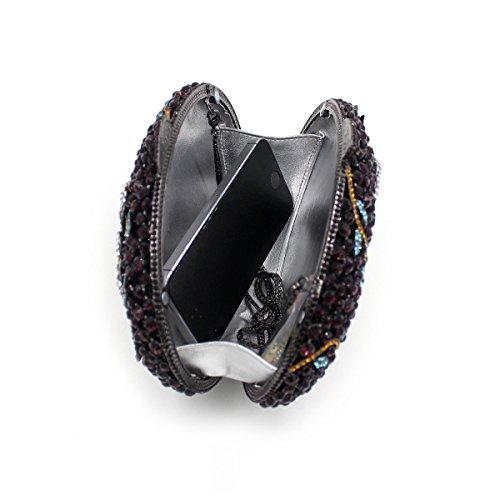 Sacchetto Di Sera Di Cristallo Dei Diamanti Fiore Ovale Sacchetto Diamante Di Lusso Di Fascia Alta Borse Catena Cava Borsa Black