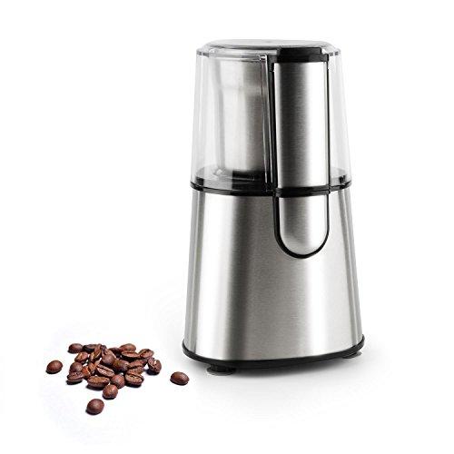 Klarstein Speedpresso • elektrische Kaffeemühle • Universalmühle • 200 Watt Schlagmahlwerk • EIN-Knopf-Steuerung • individueller Mahlgrad • Sicherheitsschalter • 65 g maximale Kapazität • Silber