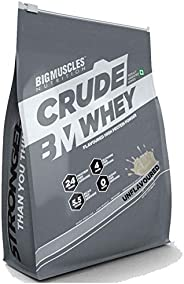 Bigmuscles Nutrition Crude Whey 2kg, Whey Protein Concentrate 80%, 24g Protein, 5.5g BCAA, 4 g Glutamine