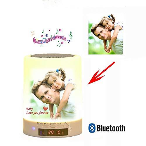 Altavoz Bluetooth Personalizado con Luz Nocturna para Fotos, Lámpara de Cabecera con Sensor Táctil...