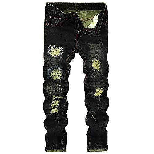 Geili Herren Jeanshosen Biker Lang Destroyed Jeans Hose Vintage Used Look  Wasserwäsche Regular Fit Straight Denim Hose Große Größen Stretch  Arbeitshose ... 3d35eb5928