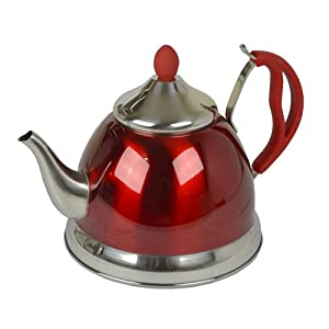 41muPhwcLkL. SS300  - 1.5L RED STAINLESS STEEL LIGHTWEIGHT WHISTLING KETTLE CAMPING FISHING CORDLESS
