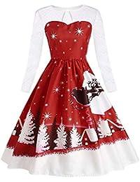 ZEZKT Printed Weihnachts Kleid mit Mesh Dekorative Übergrößen Bodycon Abend Prom Swing Dress Rockabilly Frauen Festliche Damenkleider Knielang Santa Claus Sweatshirt