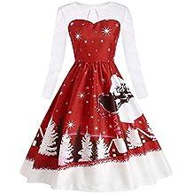 Christmas Impresión Vendimia Fiesta Vestir,ZARLLE 50 Vestidos Papá Noel Vestido Encaje de Navidad Vestido
