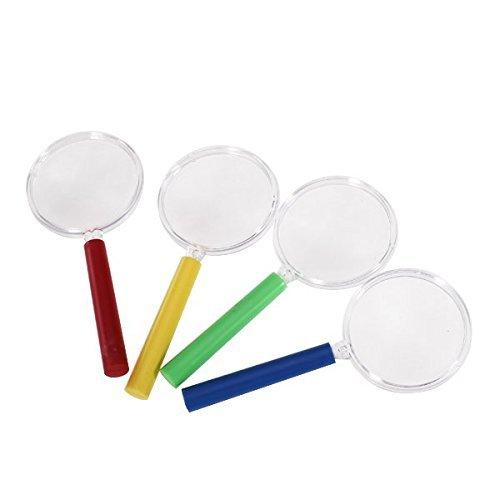 Sun Glower Mini-Lupe, 4-teilig, Handlupe aus Kunststoff, für Kinder, Spielzeug, Wissenschaft, Leselupe (zufällige Farbe), perfekt für Ihre Freunde