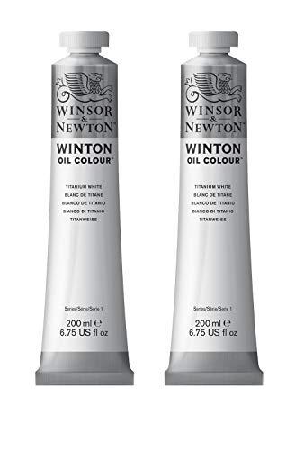 Winsor & Newton Colori ad Olio Winton - pacco doppio con 2 tubi da 200ml di Bianco di Titanio, 2 Pezzi
