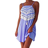 Women Fashion Beach Mini Dress Spaghetti Strap Loose Sundress Tassels Party Dress