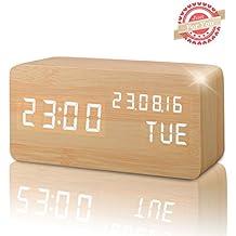 Reloj Digital Despertador Madera de Haya con Control de Sonido y LED Brillo de la Pantalla (Marrón)