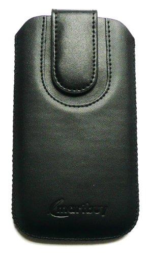 Emartbuy ® Schwarz / Schwarz Premium PU Leder Tasche Hülle Schutzhülle Case Cover (Größe X-Large) mit Ausziehhilfe Geeignet Für Apple Iphone 5c Schwarz / Schwarz Hülle