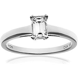 Certified Diamonds PR9147(O) - Anillo de mujer de oro blanco (18 K) con 1 diamante, talla inglesa: O / talla española: 14