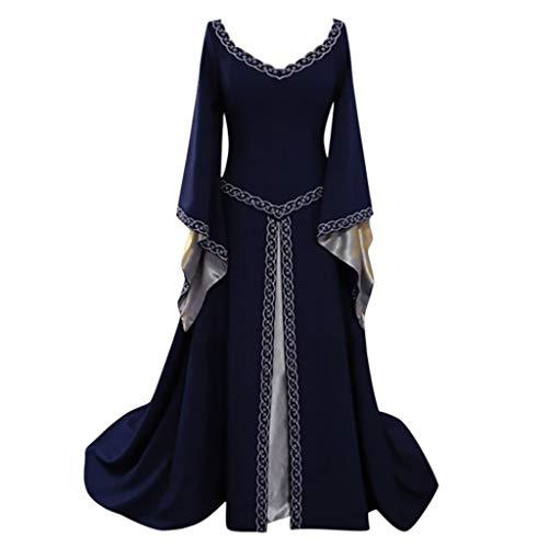 Damen Festlich Party Lange Abendkleid V-Ausschnitt Retro Mittelalter Kleid Renaissance Cosplay Kostüm mit Trompetenärmel Lonshell Viktorianischen Königin Kostüm Maxikleid - Viktorianischen Tanz Kostüm