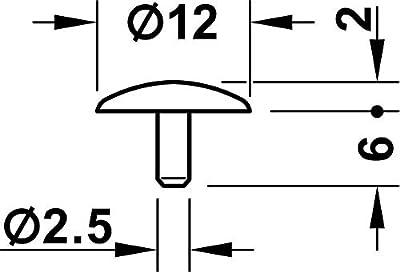 Gedotec Möbel-Abdeckkappen weiß Schrauben-Abdeckungen Kunststoff Schrauben-Kappe rund | H1123 | für Kopflochbohrung | Ø 12 x 2,5 mm | 50 Stück von Gedotec - Gartenmöbel von Du und Dein Garten