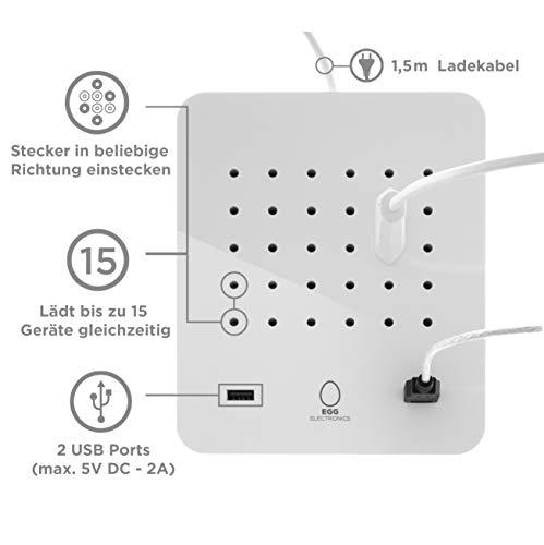 EGG ELECTRONICS PowerStation, innovative Ladestation, lädt bis zu 15 Eurostecker Typ-C + 2 USB-Ports gleichzeitig, Steckdosenleiste, Mehrfachsteckdose, Überspannungsschutz, 1.5m Kabel, DOLOMITE