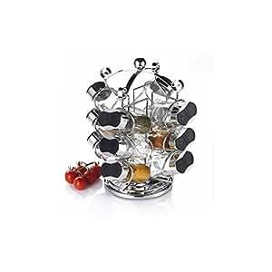 TABLE&COOK Marchio generico 85106 - Portaspezie per 12 vasetti, in acciaio INOX, colore: Naturale acciaio INOX