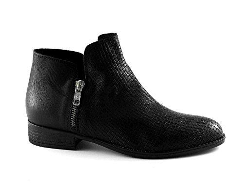 DIVINE FOLLIE ME122 cheville bottes noires Double en cuir côté zip des femmes Nero