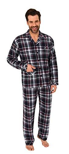 Normann Copenhagen Herren Flanell Pyjama Schlafanzug zum durchknöpfen - auch in Übergrößen 281 101 95 647, Farbe:schwarz, Größe2:54 (Karo-flanell-pyjama)