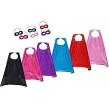 Slipond Super héroe CAPES niños trajes partido favores vestido hasta conjunto de 6-6 capas de Satén y 6 máscaras de fieltro