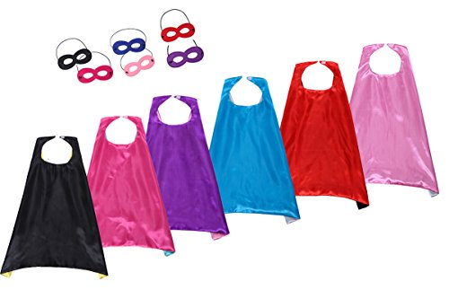 Kostüm Cape Kinder - Slipond Kinder Capes verkleiden Kostüme Double Side Satin Partei Capes und Maske 6 Set