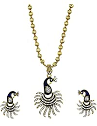 Zeneme Cz Designer Peacock Pendant Set With Chain And Earrings For Girls And Women-Golden