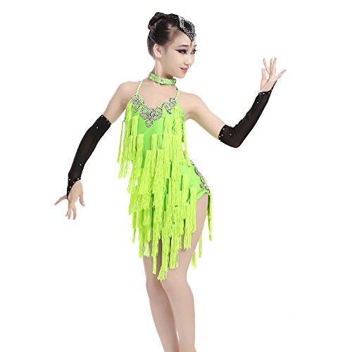 QCBC Adult Latin-Tanz-Kleid Latin Tanz Kostüme Quasten Leistung Kleidung Kleidung Mädchen im Bügel-Kleid (rot, schwarz und gelb), Yellow, S