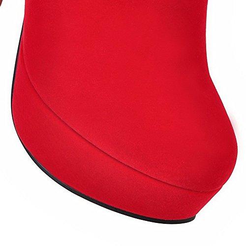 VogueZone009 Damen Niedrig-Spitze Eingelegt Reißverschluss Rund Zehe Hoher Absatz Stiefel Rot