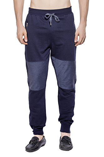 Maniac Men's Solid Cotton Track Pant (ML-Mens-Loop-NET-Track-Pant-Navy-L, Black, Large)