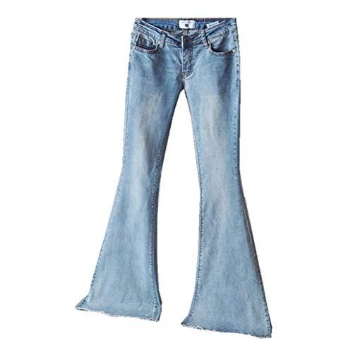 OYSOHE Damen Jeans Mid Waist Slim Fit Denim-Hose Baggy Pants Flare-Hose(Hellblau,XXX-Large) - Leder-low Rise Flare Jeans