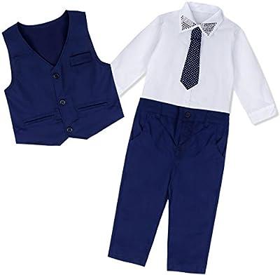 iEFiEL Traje de Bautizo Fiesta Boda para Niño Conjunto Camisa Manga Larga + Chaleco + Pantalones + Corbata Trajes Algodón