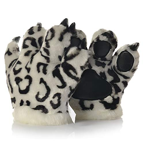 LANFIRE Flauschige künstliche Tiger und Dinosaurier Paw Handschuhe, Stirnband und Schwanz Kostüme Cosplay Tiger oder Dinosaurier Party Kostüm für Kinder (Snow leopard gloves) (Snow Halloween Leopard Kostüm)