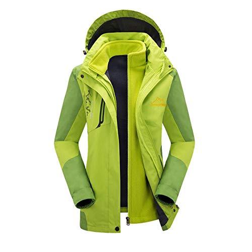 Vlunt Softshell Jacken, Damen Doppeljacke Outdoor Warm Funktionsjacke Bergsteigen Winddicht Wanderjackes mit Kapuze - Grün, 3XL