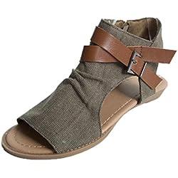 Sandalias Bohemias, Manadlian Zapatos de Mujer con Boca de Pescado Sandalias Talón Plano Tobillo Sólido Zapatilla de Correa Sandalias Para Mujers (CN:38, Café)