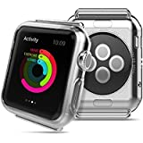 HOCO Authentic [Clear Transparent] Apple Watch Case Ultra-Slim [Stealth] Super Lightweight / Exact Fit / Absolutely NO Bulkiness Soft TPU Case Cover for Apple Watch - 38mm (2015)