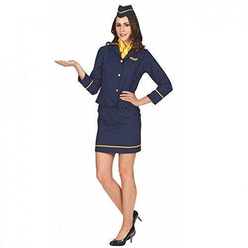 Andrea Moden GmbH Kostüm Stewardess Tina mit Rock, Tuch und Hut Flugbegleiterin Fasching Karneval, Gr. - Karneval Berufe Kostüme