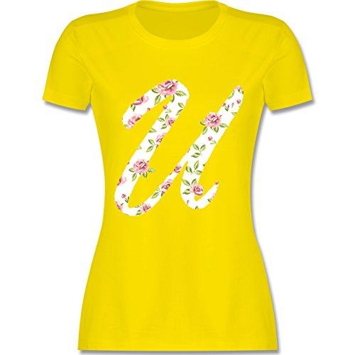 Anfangsbuchstaben - U Rosen - tailliertes Premium T-Shirt mit  Rundhalsausschnitt für Damen Lemon Gelb