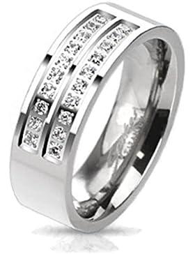 Paula & Fritz® Titan Ring silber Double Micro Zirkonia verfügbare Ringgrößen 57 (18) – 69 (22) R-TM-3644