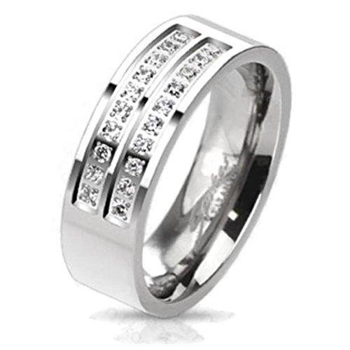 Paula & Fritz® Titan Ring Silber Double Micro Zirkonia 63 (20) R-TM-3644-11