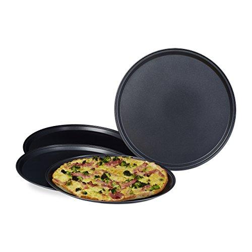 Relaxdays Pizzablech im Set mit großem Durchmesser: ca. 32 cm runde Backbleche für Pizza und Flammkuchen Pizza-Backblech im 4er Set Pizza Backset mit antihaftbeschichteten Blechen Pizza-Set, anthrazit