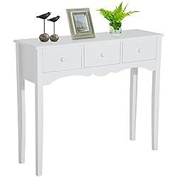 Mueble Mesa Recibidor Entrada con 3 Cajones en Color Blanco y Material de Madera 100x32x85cm