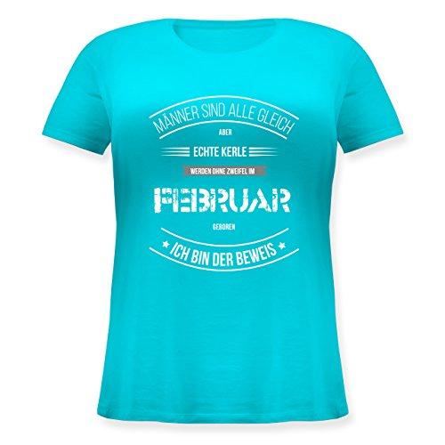 Shirtracer Geburtstag - Echte Kerle Werden IM Februar Geboren - Lockeres Damen-Shirt in Großen Größen mit Rundhalsausschnitt Türkis